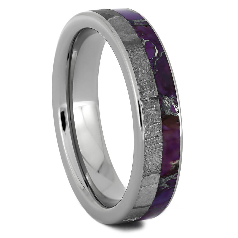 Lightning Turquoise Wedding Band with Seymchan Meteorite-4352 - Jewelry by Johan