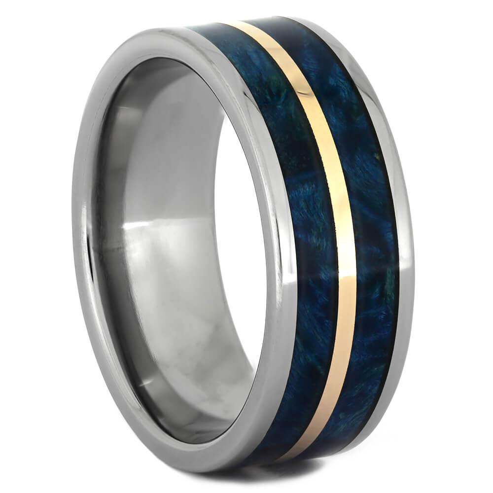 Blue Box Elder Burl Wood Wedding Band in Titanium with Copper Pinstripe-4353 - Jewelry by Johan