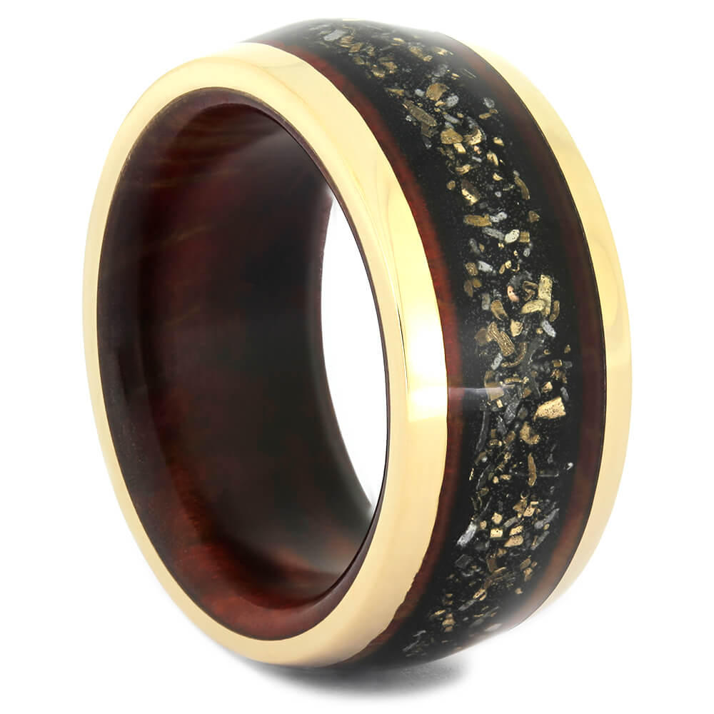 Black Stardust Ring with Ruby Redwood in Yellow Gold-4355 - Jewelry by Johan