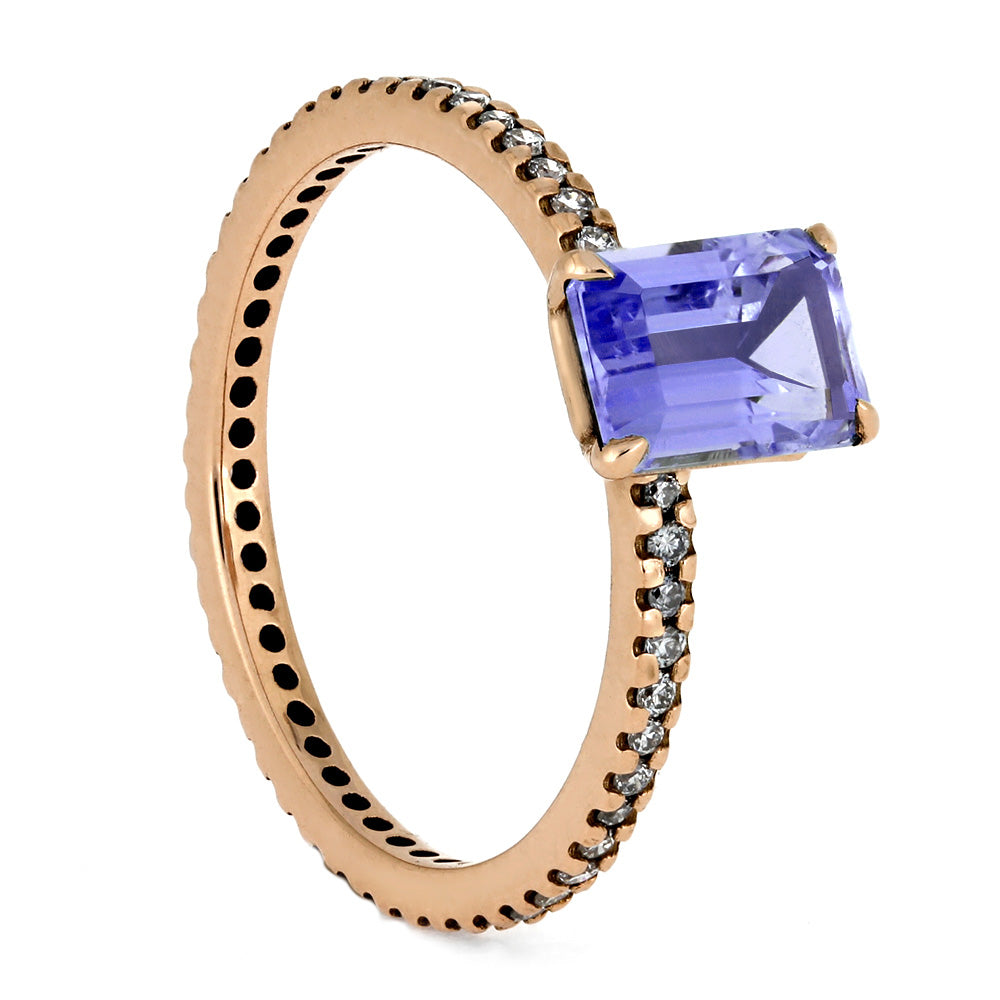 Tanzanite Engagement Ring In Rose Gold With Diamond Band-4356 - Jewelry by Johan