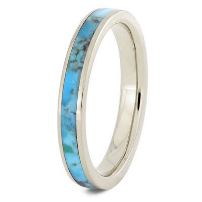 White Gold Turquoise Women's Wedding Band