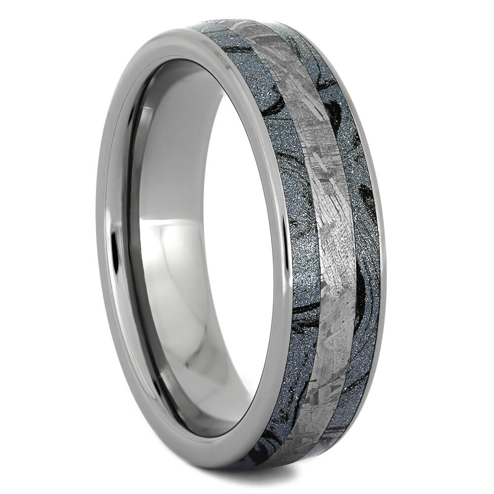Blue Wedding Band with Gibeon Meteorite and Mokume-4358 - Jewelry by Johan