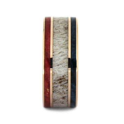 Red & Blue Box Elder Wood Wedding Band with Deer Antler and Rose Gold-4360 - Jewelry by Johan