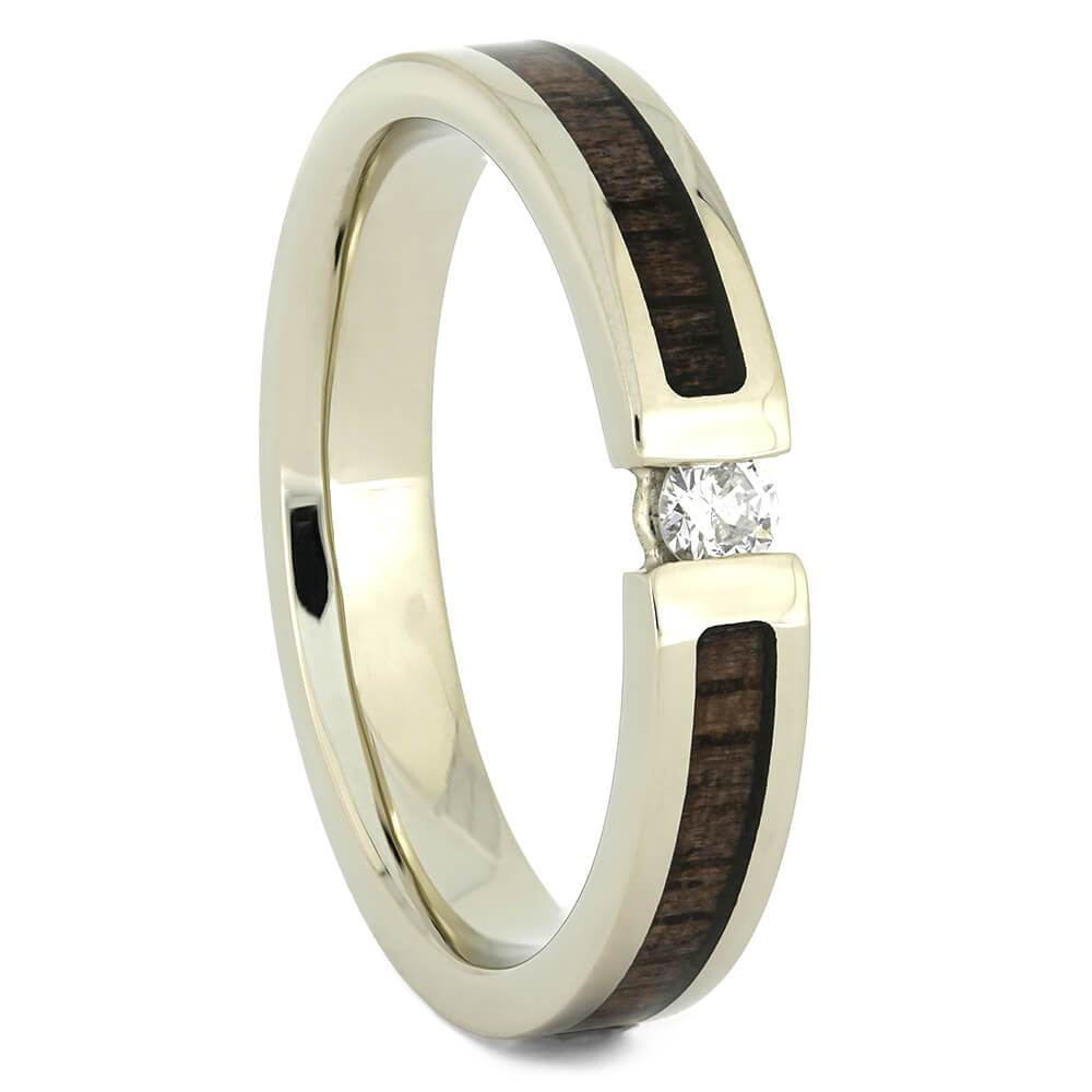 Diamond Engagement Ring with Walnut Wood Inlays-4364 - Jewelry by Johan