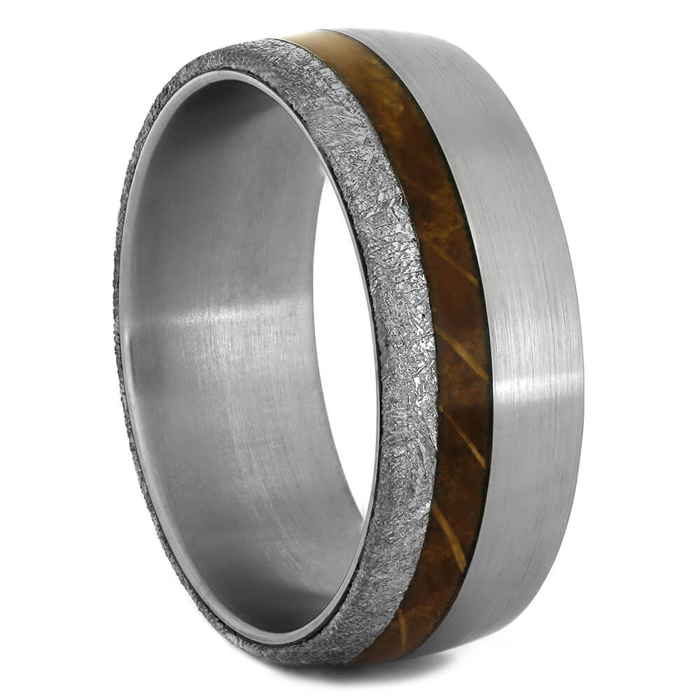 Whiskey Barrel Wood Wedding Band with Gibeon Meteorite-4367 - Jewelry by Johan
