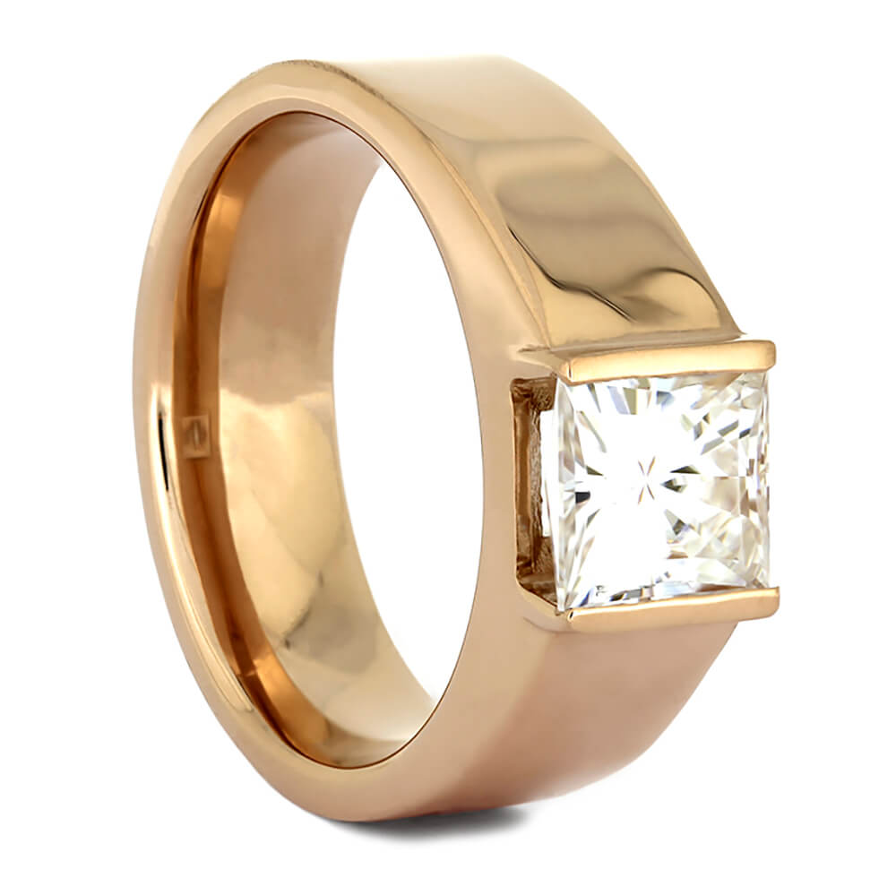 Square Cathedral Engagement Ring in Rose Gold with Moissanite-4371 - Jewelry by Johan