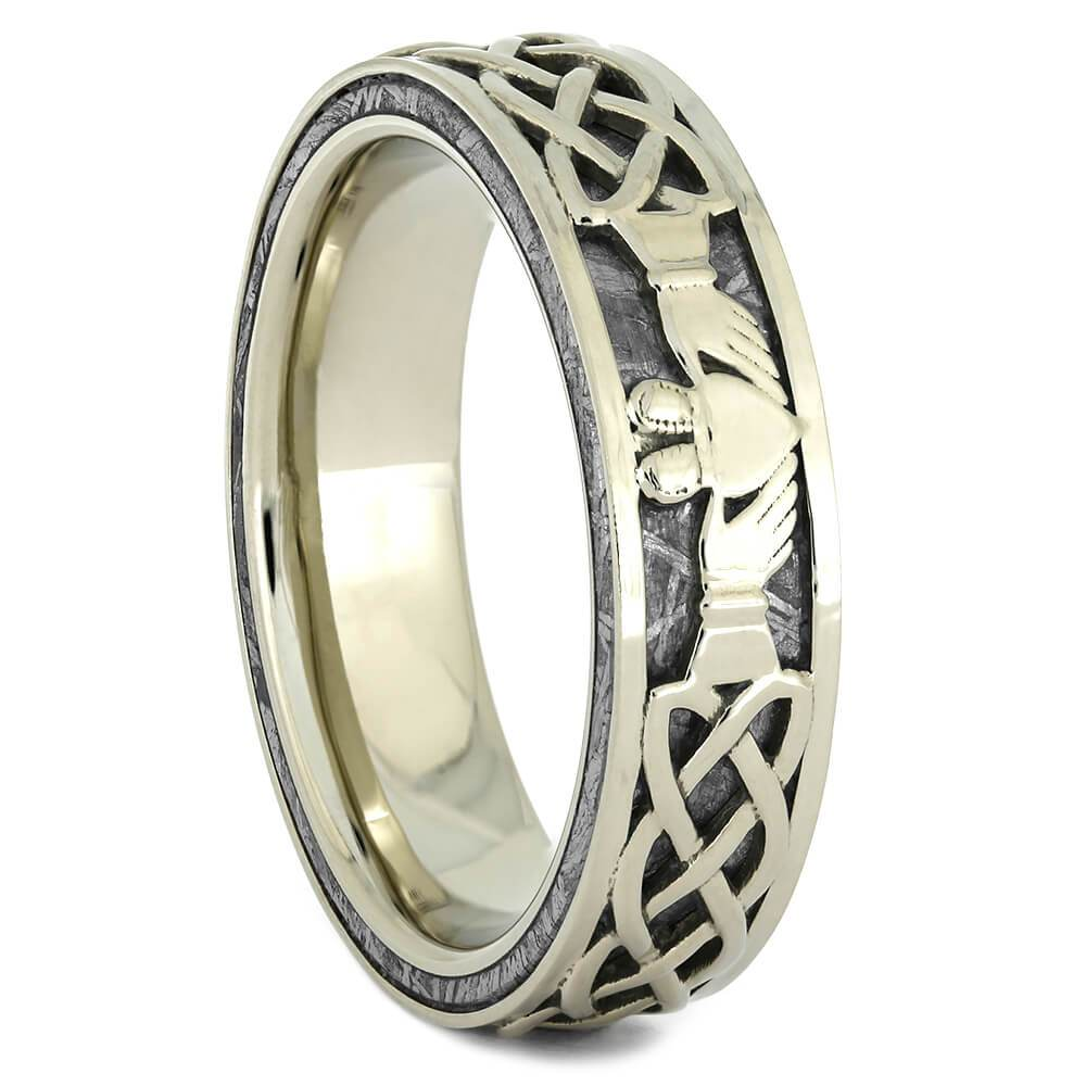 Men's Claddagh Ring in White Gold with Gibeon Meteorite-4372 - Jewelry by Johan