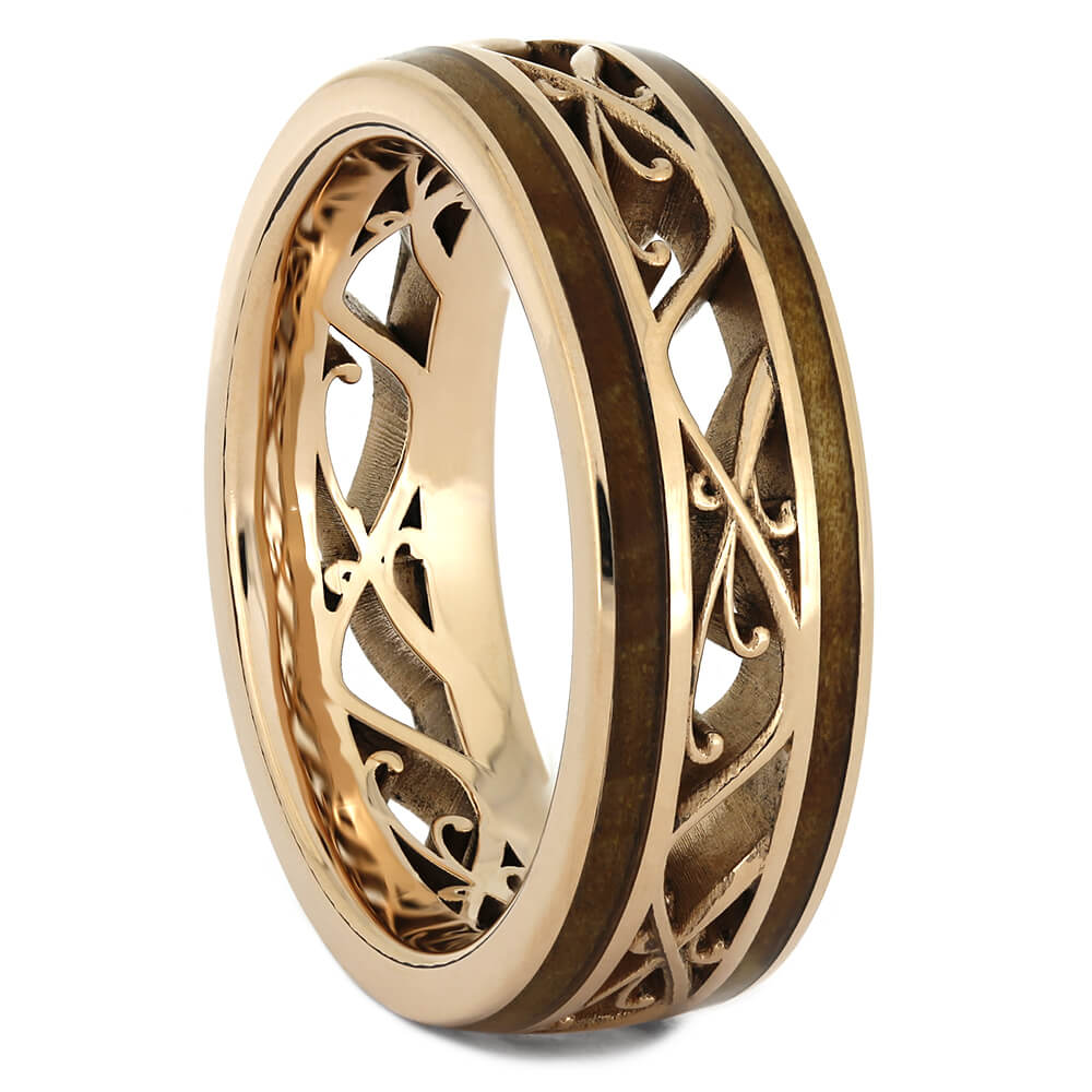 Rose Gold Filigree Wedding Band with Cherry Wood-4373 - Jewelry by Johan