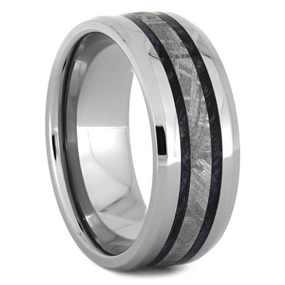 Men's Wedding Band with Gibeon Meteorite and Purple Box Elder Burl Wood-4375 - Jewelry by Johan