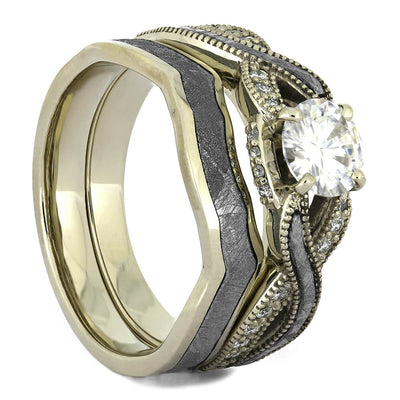 Meteorite Diamond Bridal Set with White Gold and Moissanite-4377 - Jewelry by Johan