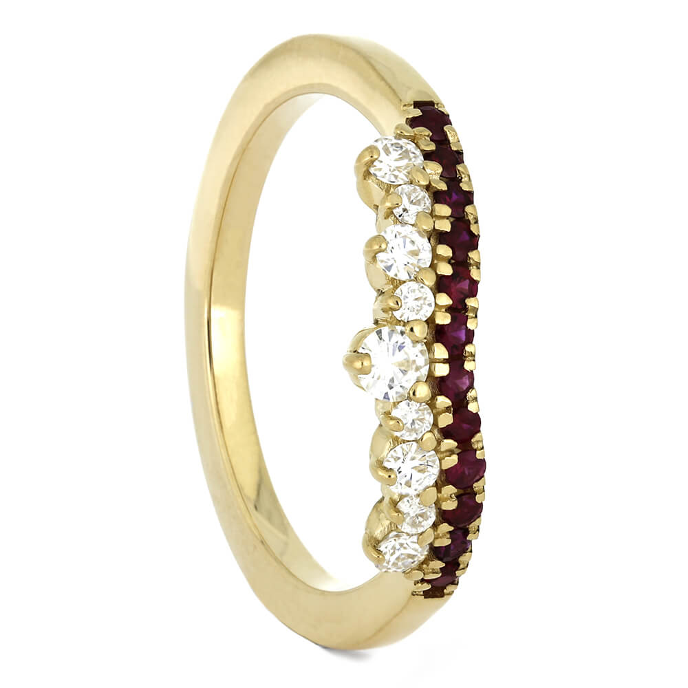Yellow Gold Shadow Band with Rubies and Moissanites-4378 - Jewelry by Johan