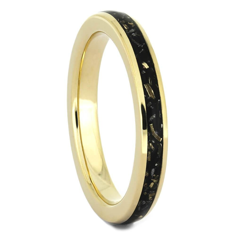 Narrow Meteorite Ring With Black Stardust™ And Gold-4379YG - Jewelry by Johan