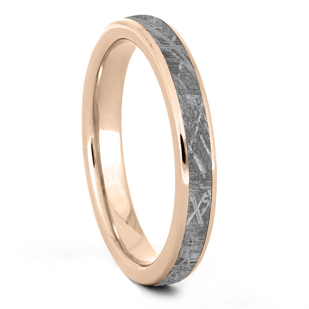Round Meteorite Wedding Band for Women in Rose Gold-4380RG - Jewelry by Johan
