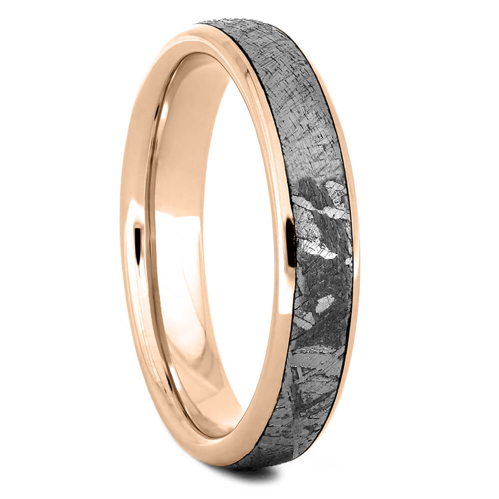 Rose Gold 4mm Women's Wedding Band with Gibeon Meteorite-4383RG - Jewelry by Johan