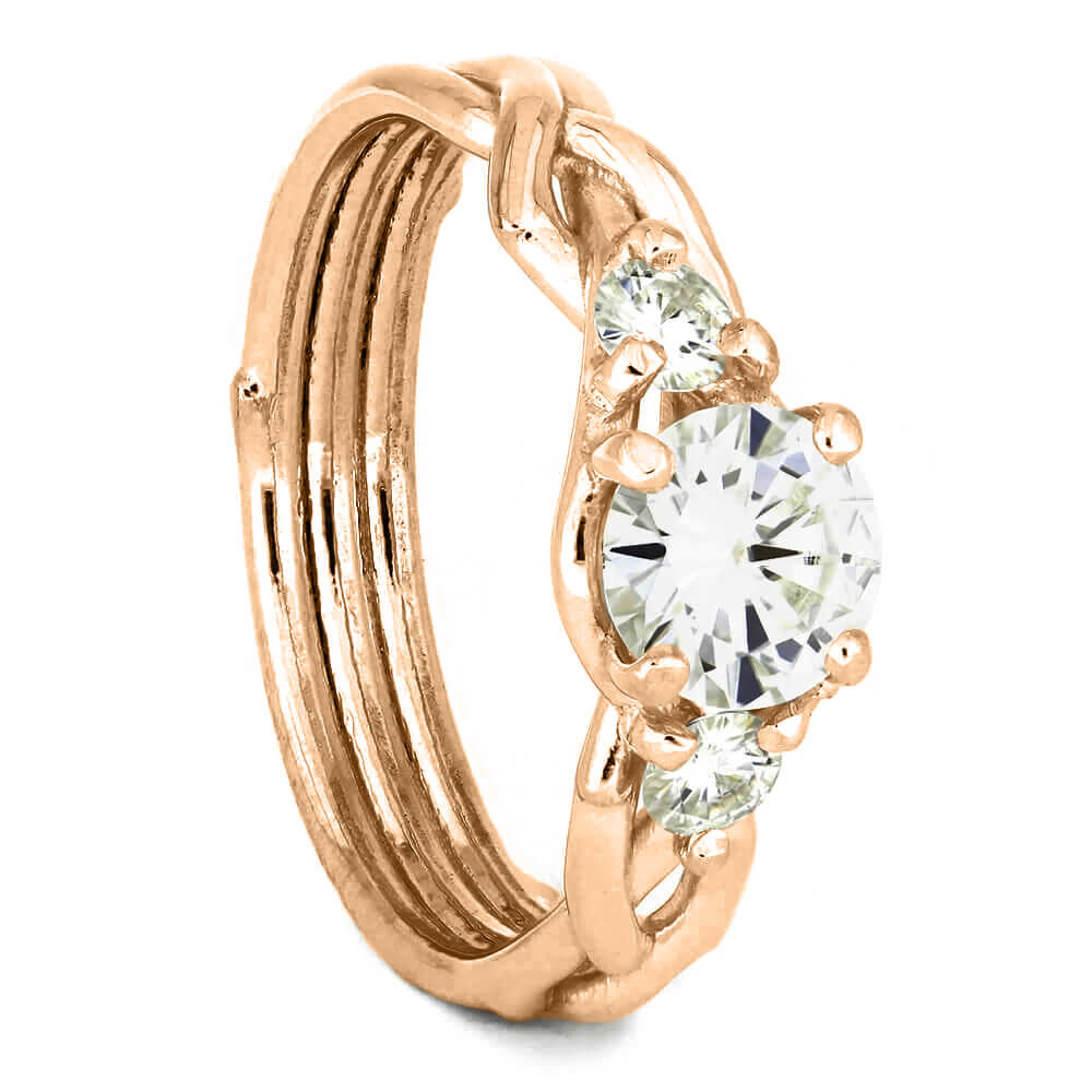 Moissanite Engagement Ring with Rose Gold Branch Design-4390 - Jewelry by Johan
