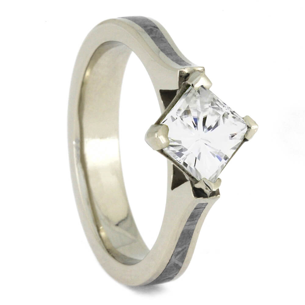 Moissanite Engagement Ring with Meteorite Inlay in White Gold-4391 - Jewelry by Johan