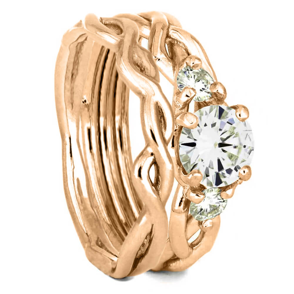 Rose Gold Bridal Set with Branch Design and Moissanites-4392 - Jewelry by Johan