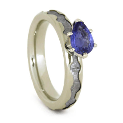 Meteorite Engagement Ring With Pear Shaped Blue Sapphire In White Gold