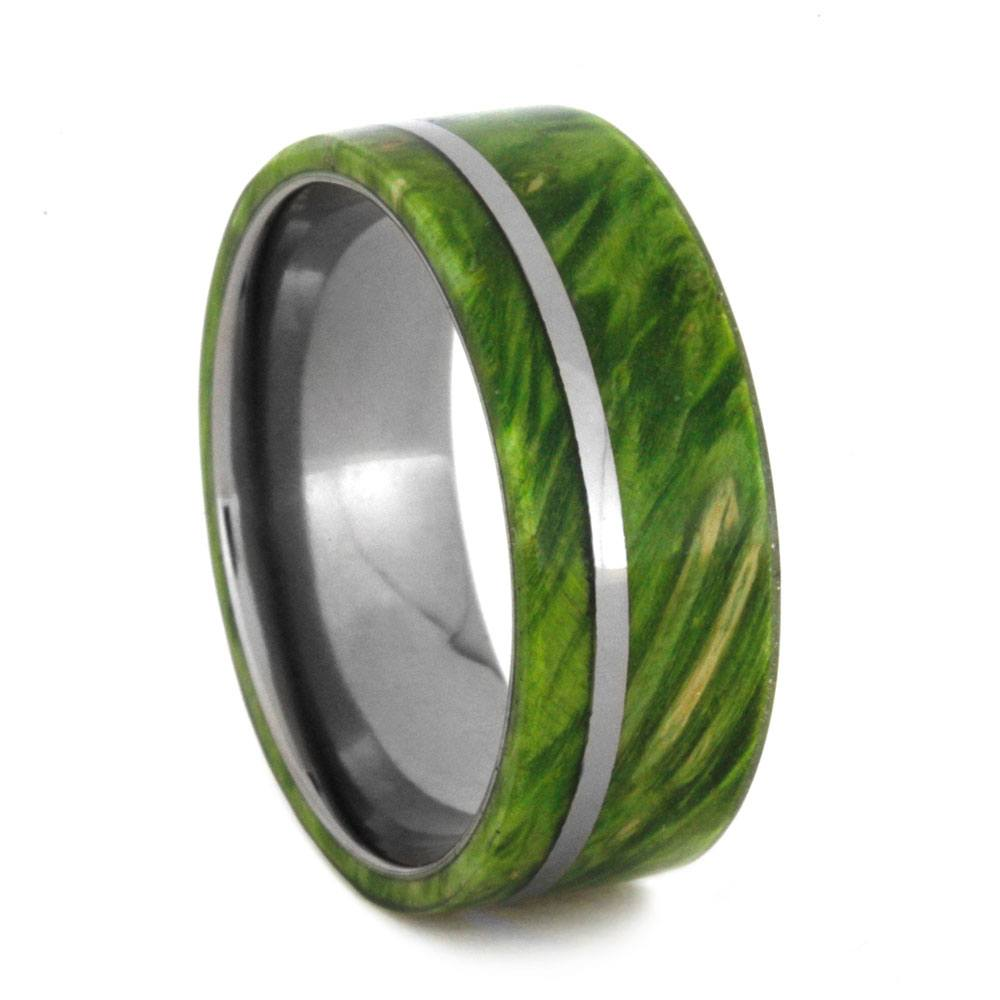 Green Box Elder Burl Wood Wedding Band, Size 9.25-RS9080 - Jewelry by Johan