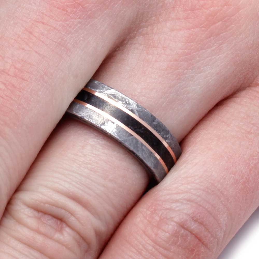 Dinosaur Bone Ring With 14k Rose Gold Pinstripes - Jewelry by Johan