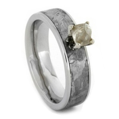 Rough Diamond Engagement Ring with Gibeon Meteorite in 10k White Gold