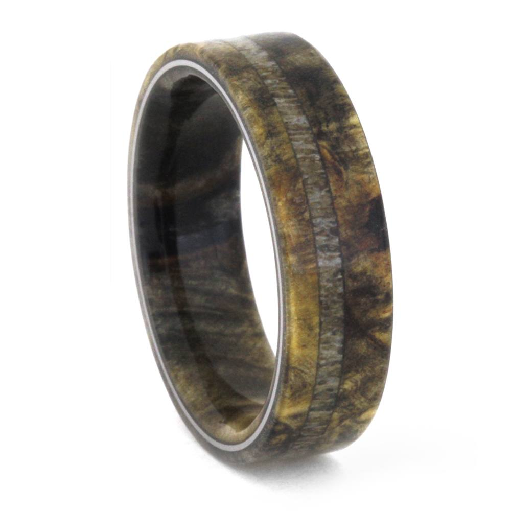 Buckeye Burl Wood And Antler Men's Wedding Band-3421 - Jewelry by Johan