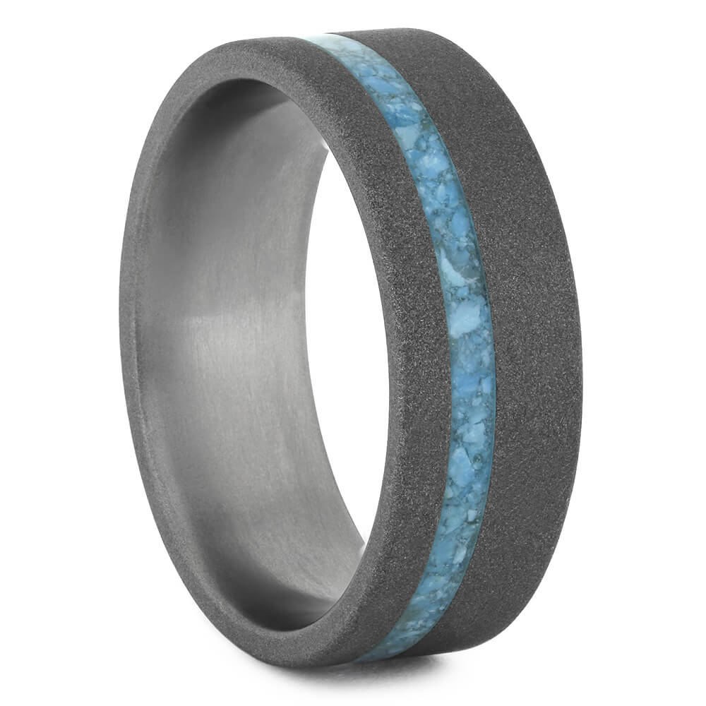 Turquoise Wedding Band With Sandblasted Titanium-4496 - Jewelry by Johan