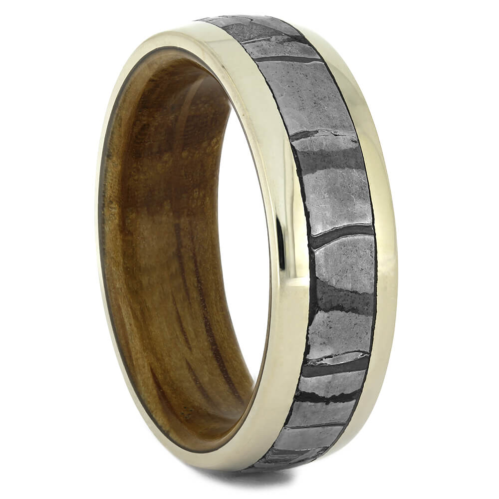 Seymchan Meteorite Wedding Band with Whiskey Barrel Wood Sleeve-4409 - Jewelry by Johan