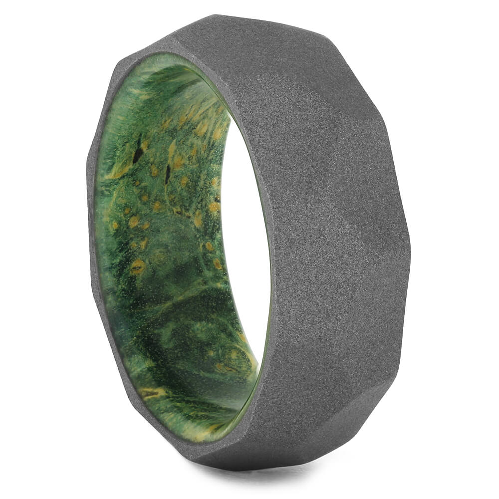 Faceted Men's Wedding Band with Green Box Elder Wood Sleeve-4410 - Jewelry by Johan