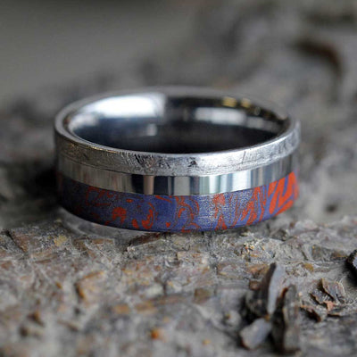 Tungsten Mokume Wedding Band with Meteorite-3407 - Jewelry by Johan