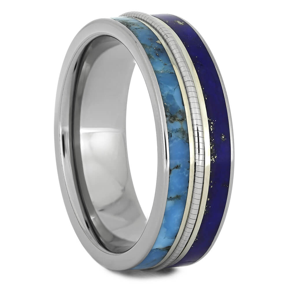 Cello String Wedding Band with Double Blue Inlays