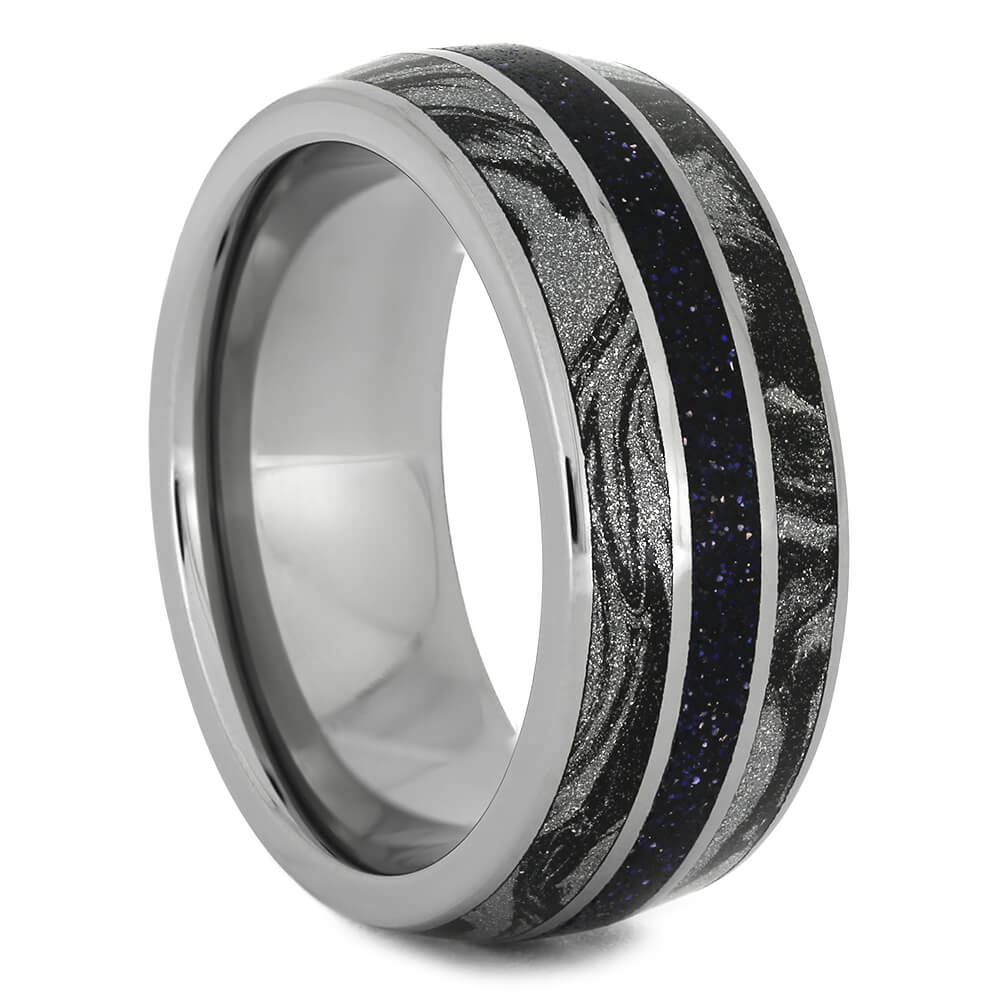 Blue Goldstone Men's Wedding Band with Black and White Mokume-4421 - Jewelry by Johan