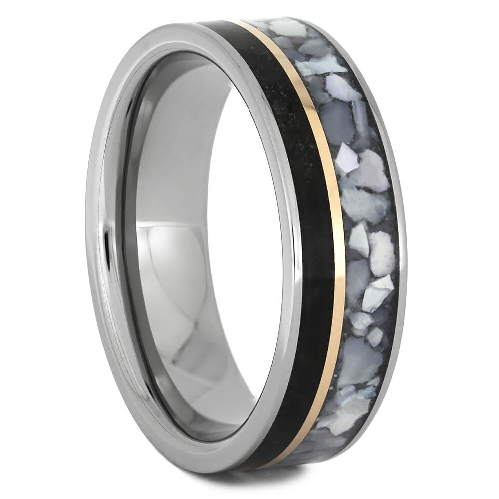 Dinosaur Bone Wedding Band with Mother of Pearl and Rose Gold-4422 - Jewelry by Johan