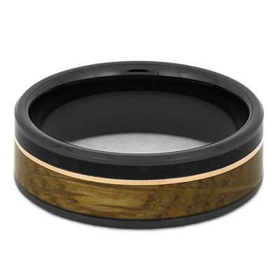 Unique Men's Ring with Whiskey Wood