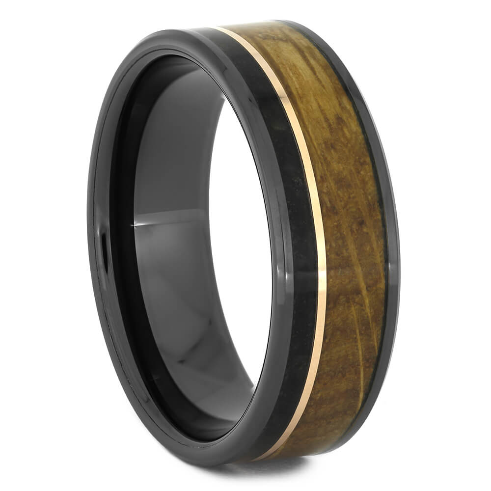 Whiskey Barrel Wedding Band with Rose Gold Pinstripe-4423 - Jewelry by Johan