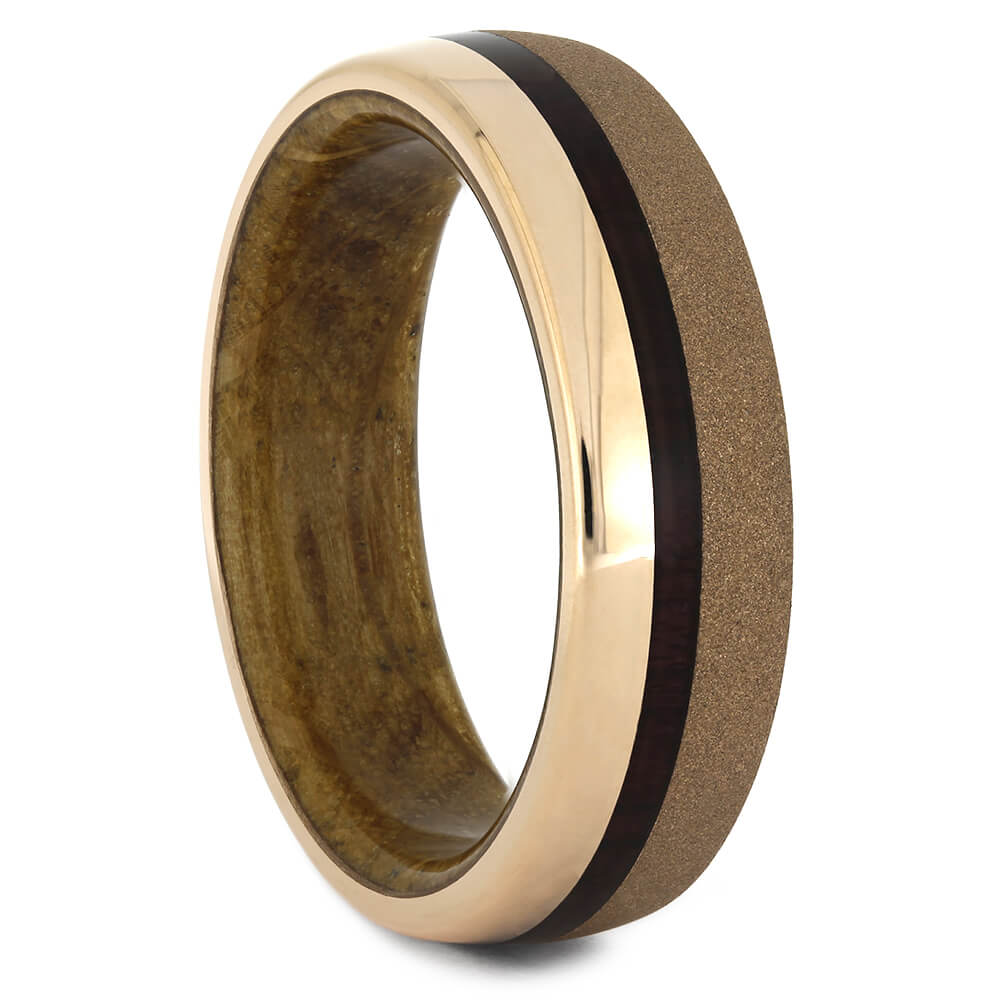 Sandblasted Rose Gold Wedding Band with Whiskey Oak-4424 - Jewelry by Johan