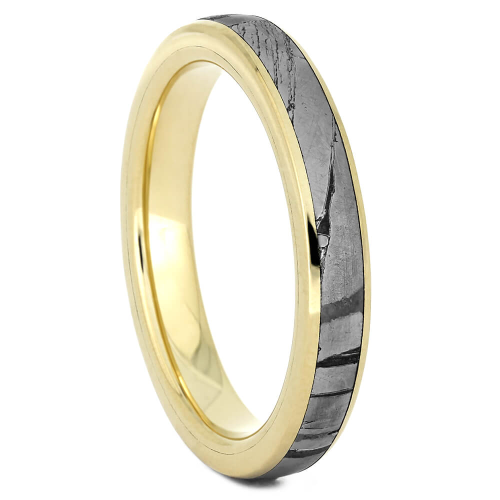 Yellow Gold Women's Wedding Band with Seymchan Meteorite-4425 - Jewelry by Johan
