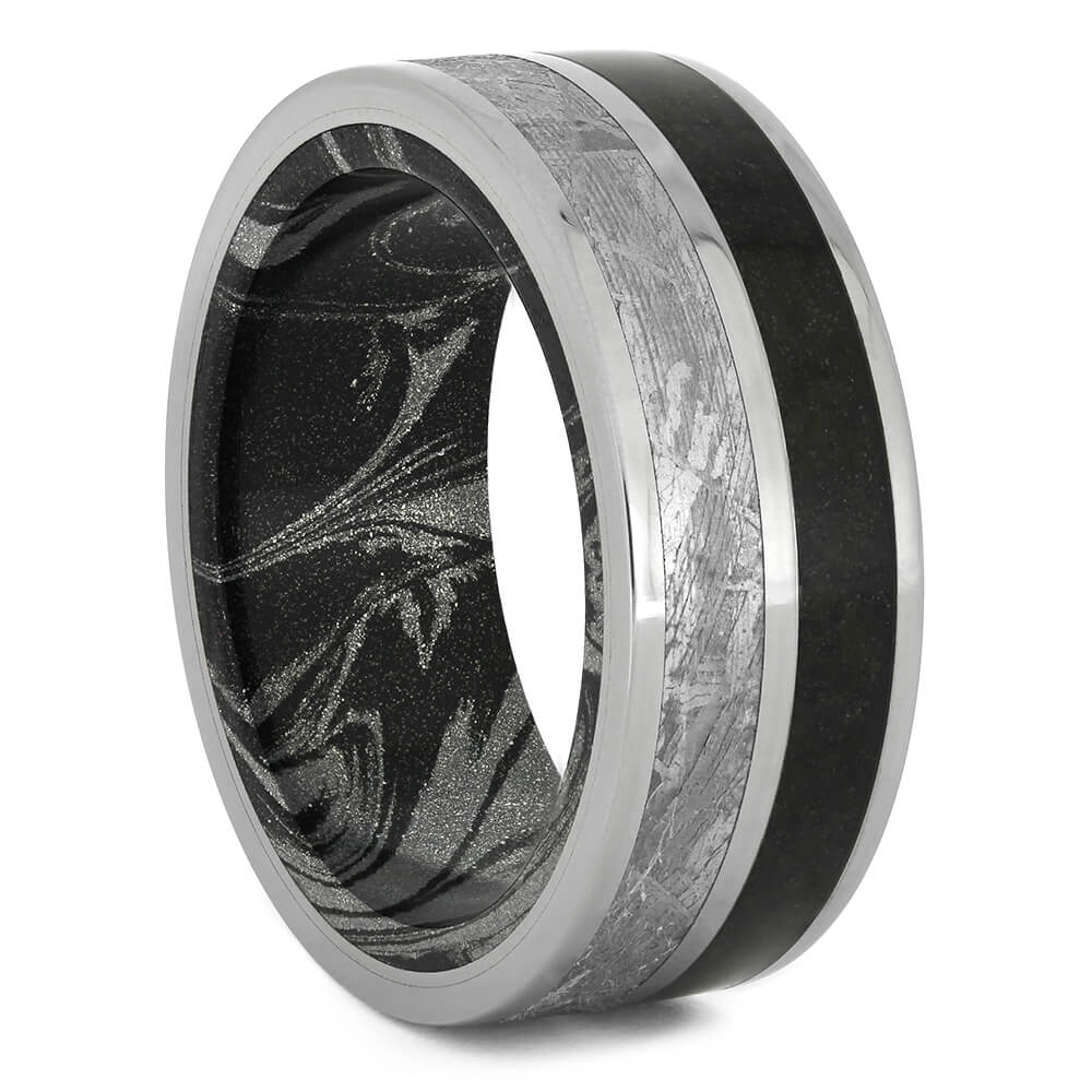 Meteorite and Dinosaur Bone Wedding Band with Mokume Sleeve-4426 - Jewelry by Johan