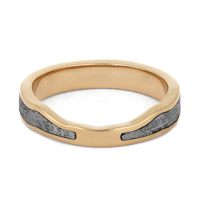 Rose Gold Women's Wedding Band with Gibeon Meteorite-4429 - Jewelry by Johan
