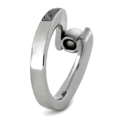 Pearl Engagement Ring with Meteorite in a Tapered 10k White Gold Band-1774 - Jewelry by Johan