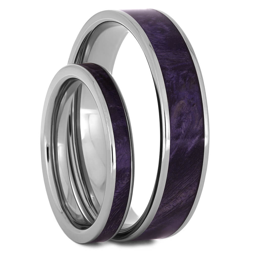 Matching Wedding Band Set with Purple Box Elder Burl Wood-4434 - Jewelry by Johan