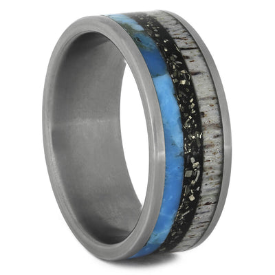 Black Stardust™ Wedding Band with Turquoise and Deer Antler-4436 - Jewelry by Johan