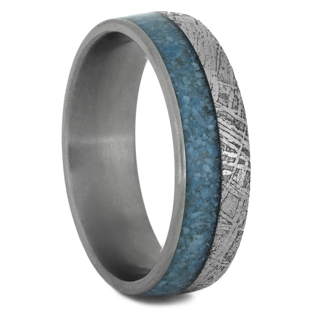Meteorite and Crushed Turquoise Wedding Band with Titanium Sleeve-4438 - Jewelry by Johan