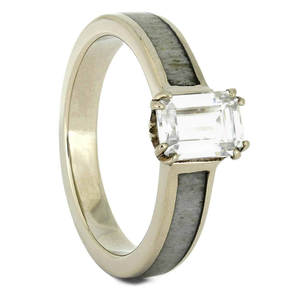 Antler Engagement Ring with Emerald Cut Moissanite-4439 - Jewelry by Johan