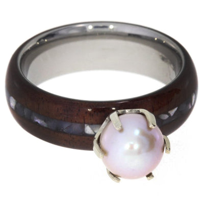 Pearl Engagement Ring with Bolivian Rosewood and Mother of Pearl-1550 - Jewelry by Johan