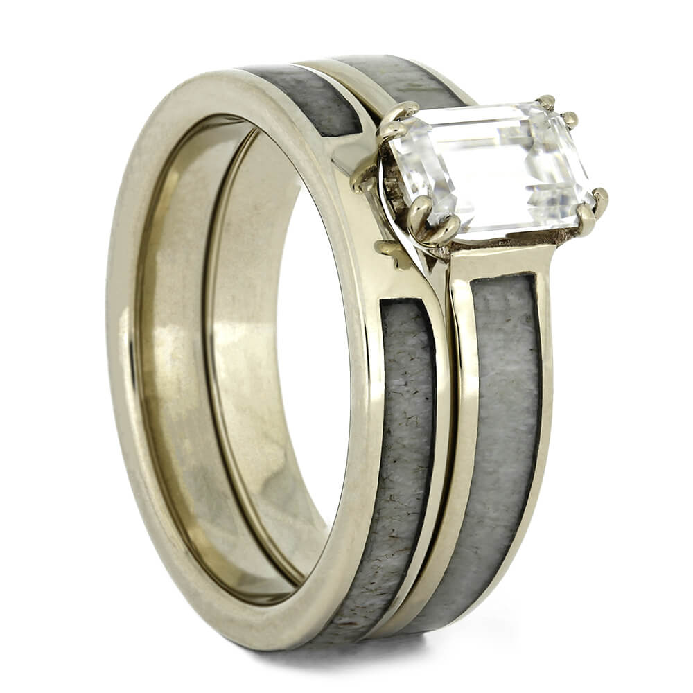 Deer Antler Bridal Set with Forever One Moissanite-4441 - Jewelry by Johan
