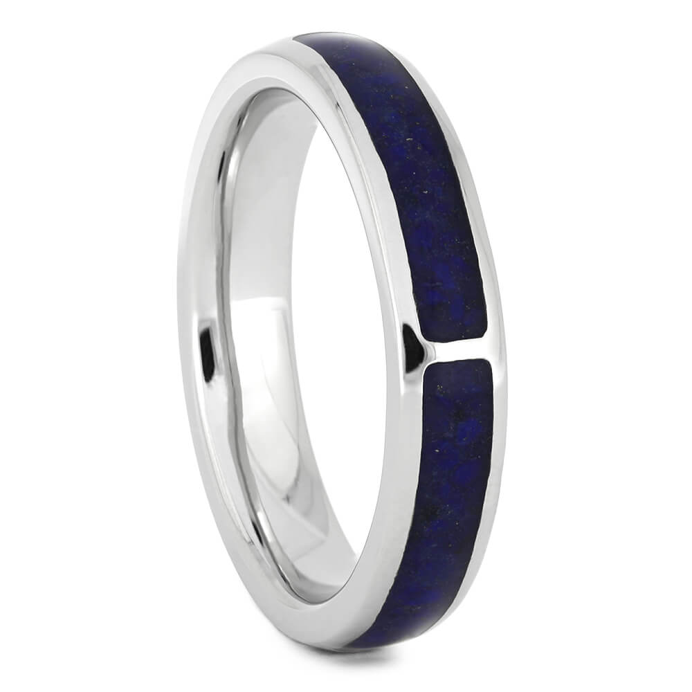 Platinum Wedding Band With Lapis
