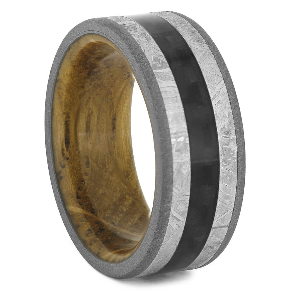 Meteorite Wedding Band with Carbon Fiber and Whiskey Oak-4445 - Jewelry by Johan