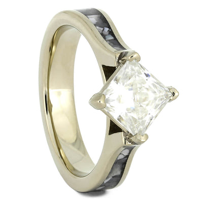Mother of Pearl Engagement Ring with Solitaire Moissanite-4446 - Jewelry by Johan