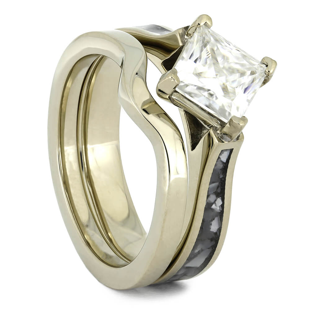 White Gold Bridal Set with Square Cut Moissanite-4447 - Jewelry by Johan